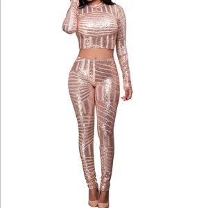 gold sequin pants set